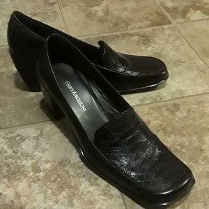"""Enzo"" Black Heeled Loafers"